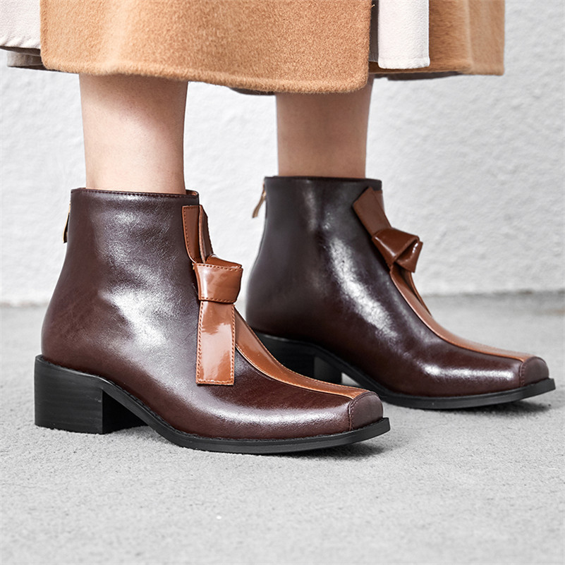 Image 5 - FEDONAS New Comfortable Western Boots Party Office Shoes Woman Quality Genuine Leather Women Ankle Boots Winter Warm High Heels-in Ankle Boots from Shoes