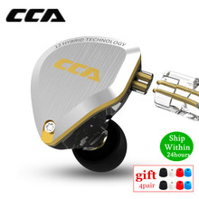 New CCA C12 5BA+1DD Hybrid Metal Headset HIFI Bass Earbuds In Ear Monitor Headphones Noise Cancelling Earphones C10 C16 ZSX A10