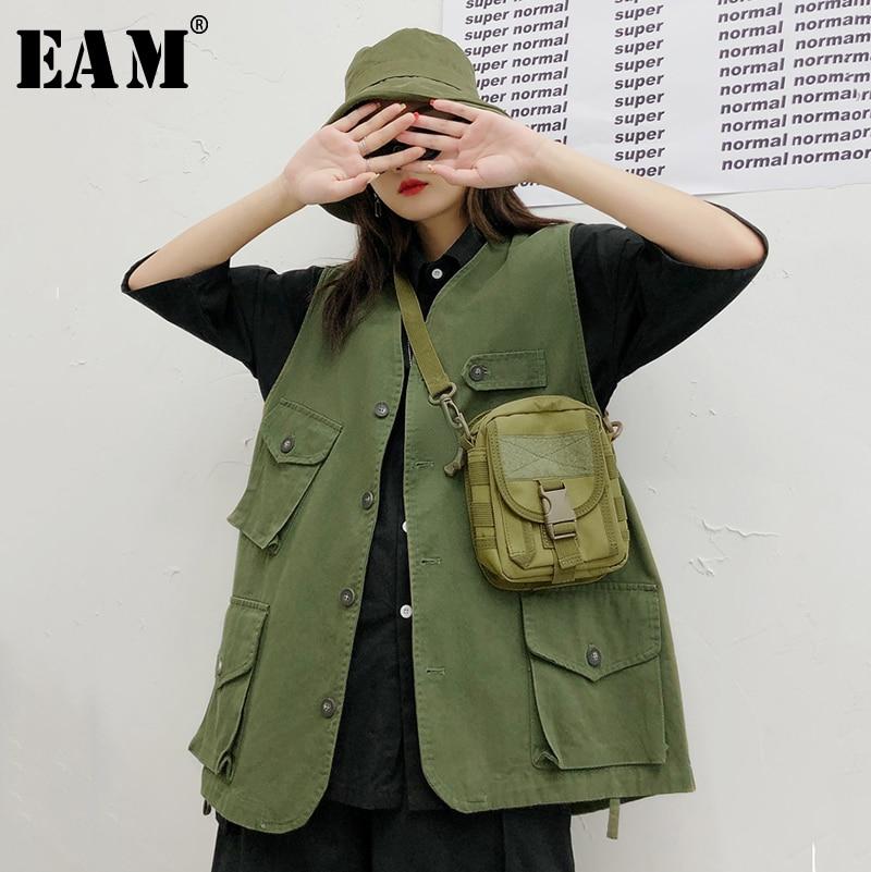 [EAM] 2019 New Spring Lapel Sleevless Pocket Split Joint Loose Long Brief Vest Women Fashion Tide All-match JG557