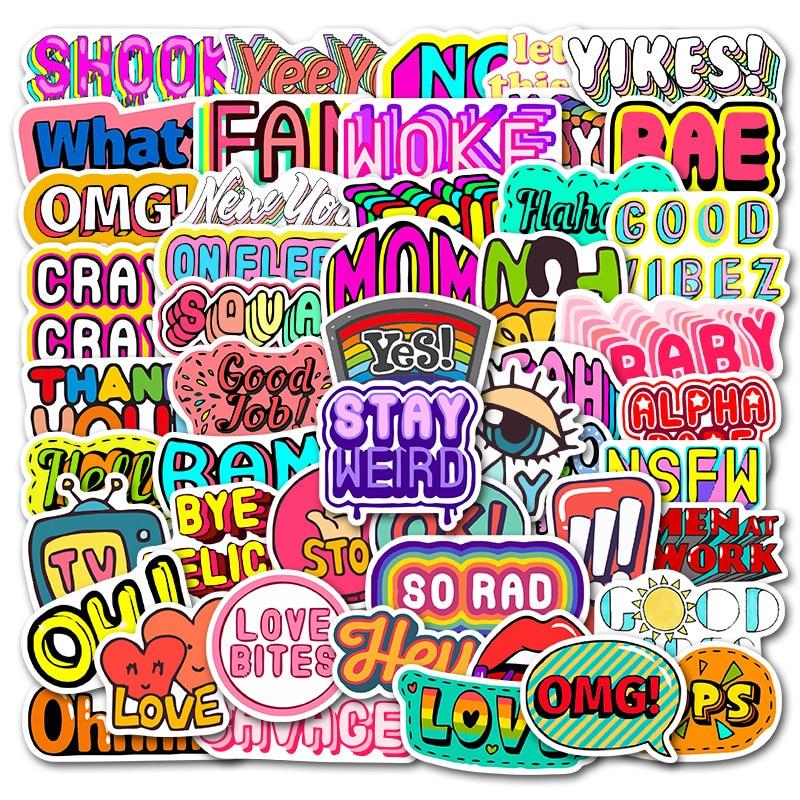 50Pcs English Phrases Vsco Girls Sticker for DIY Luggage Laptop Skateboard Bottle Motorcycle Bicycle Stickers