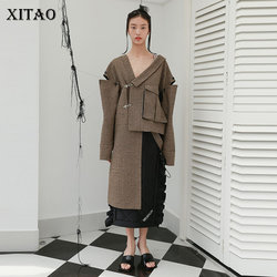XITAO Irregular Blends Fashion New Women Off Shoulder Pleated Goddess Fan Casual Style 2020 Winter Elegant Blend Coat ZY2746