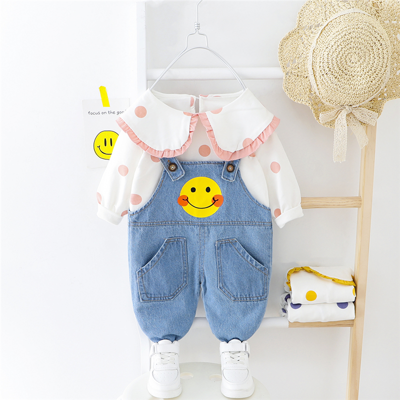 HYLKIDHUOSE 2020 Spring Baby Girls Clothing Sets Toddler Infant Clothes Lapel Lace T Shirt Overalls Children Vacation Clothing