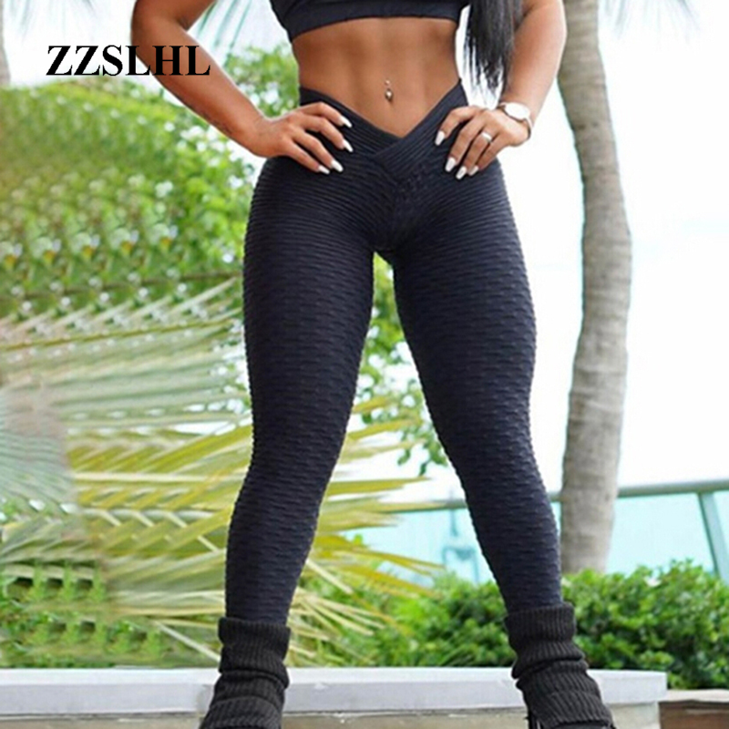 Gothic Women Fashion Bubble Waffle fitness Leggings Shape Higth Waistband Flaws Solid Pants Sexy Hip lifting Leggings