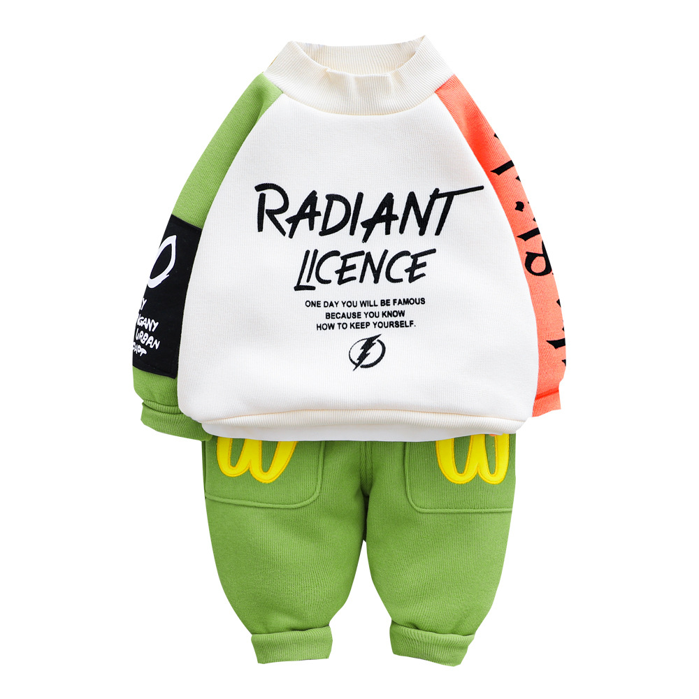 New Spring Autumn Kids Cartoon <font><b>Tshirt</b></font> <font><b>Baby</b></font> Girls Boys Sports Cotton Hooded Jacket Pants 2Pcs/<font><b>sets</b></font> Children Fashion Clothes <font><b>Sets</b></font> image