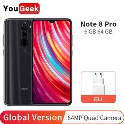 Versão global xiaomi redmi nota 8 pro 6gb 64gb/6gb 128gb smartphone helio g90t 64mp quatro câmeras 6.53