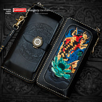 New Handmade men's wallet long zipper bag genuine leather carved wallet card holder purse mobile phone clutch bag retro wallets