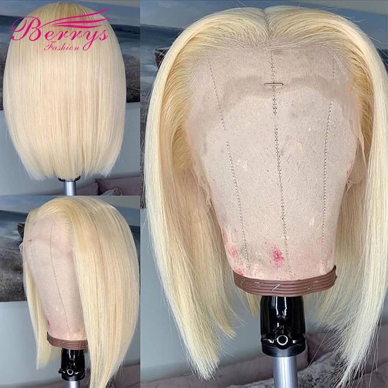 Short-Bob-Straight-613-Blonde-Lace-Frontal-Wigs-PrePlucked-Brazilian-Virgin-Lace-Front-Human-Hair-Wigs
