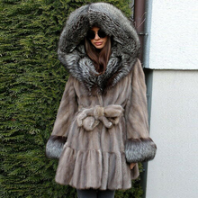 Fashion Hooded Mink Fur Coats for Women High Quality Whole Skin Genuine Mink Fur Coat with Silver Fox Fur Hood Luxury Overcoats