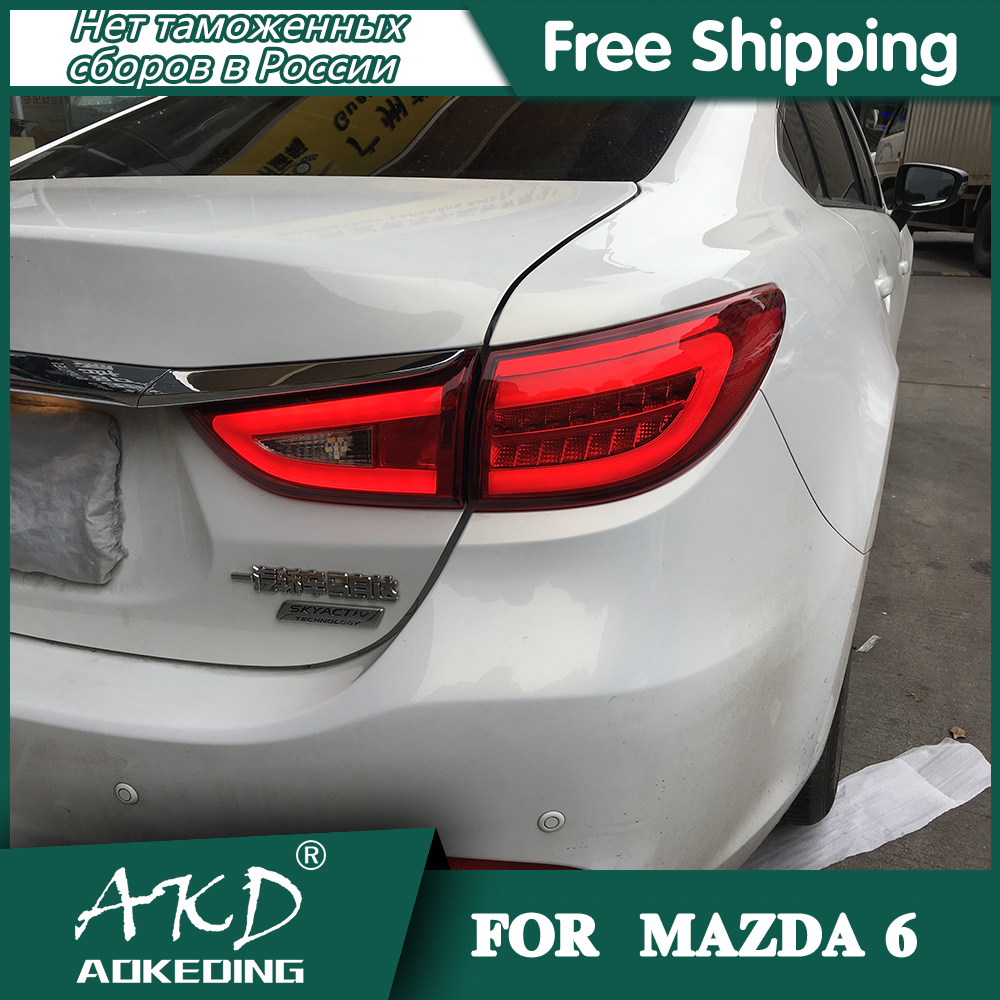 AKD Car Styling for Mazda6 Tail <font><b>Lights</b></font> 2013-2018 New <font><b>Mazda</b></font> <font><b>6</b></font> <font><b>LED</b></font> Tail <font><b>Light</b></font> <font><b>LED</b></font> Rear Lamp DRL+Brake+Park+Signal image