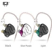 Kz zsn fones de ouvido de metal, fones de ouvido, fones auriculares, intra auricular, tecnologia híbrida 1ba + 1dd hifi, redução de ruídos