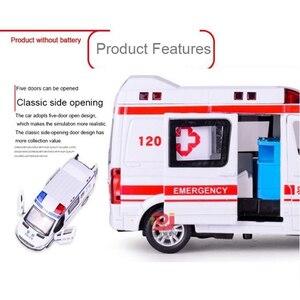 Image 3 - 1:32 救急車パトカーモデル合金ダイキャストメタルプルバック音光の子供のおもちゃ車消防車車モデル子供ギフト