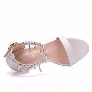 Image 5 - Pha lê Thời Trang Giày Sandal Nữ Cao Gót Mùa Hè Người Phụ Nữ Bơm Dây Đeo Mắt Cá Chân Gợi Cảm ĐẦM DỰ TIỆC Trắng Ladie Đầm KÍCH THƯỚC Giày 42