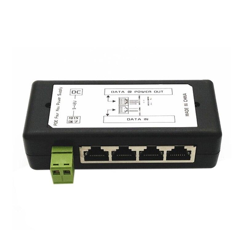 4 порта Poe Инжектор Poe адаптер питания Ethernet блок питания Pin 4,5(+)/7,8(-) Входной Dc12V-Dc48V для ip-камеры