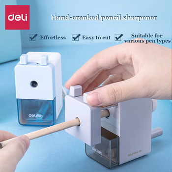 Deli pencil sharpener Hand crank student Transparent Multifunction plastic Automatic pencil sharpener Office stationery deli stationery pencil sharpener office