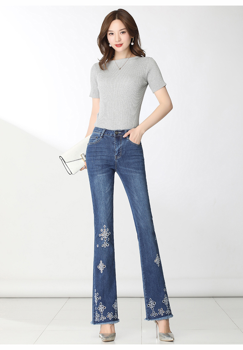 KSTUN FERZIGE High Waisted Jeans Women Stretch Blue Embroidery Woman Flares Bell-bottomed Pants Hollow Out Mom Jeans Plus Size 36 12