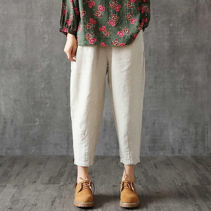 SHUJIN Women Linen Pants Oversized 2019 Autumn Casual Pant Loose Lady Fabric Linen Cotton Pant Solid Color Female Harem Pants