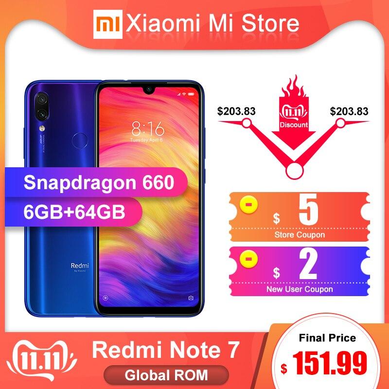 Original Global ROM Xiaomi Redmi Note 7 6GB 64GB Snapdragon 660 4000mAh 48MP arrière caméra téléphone Mobile 6.3 19.5: 9 plein écran