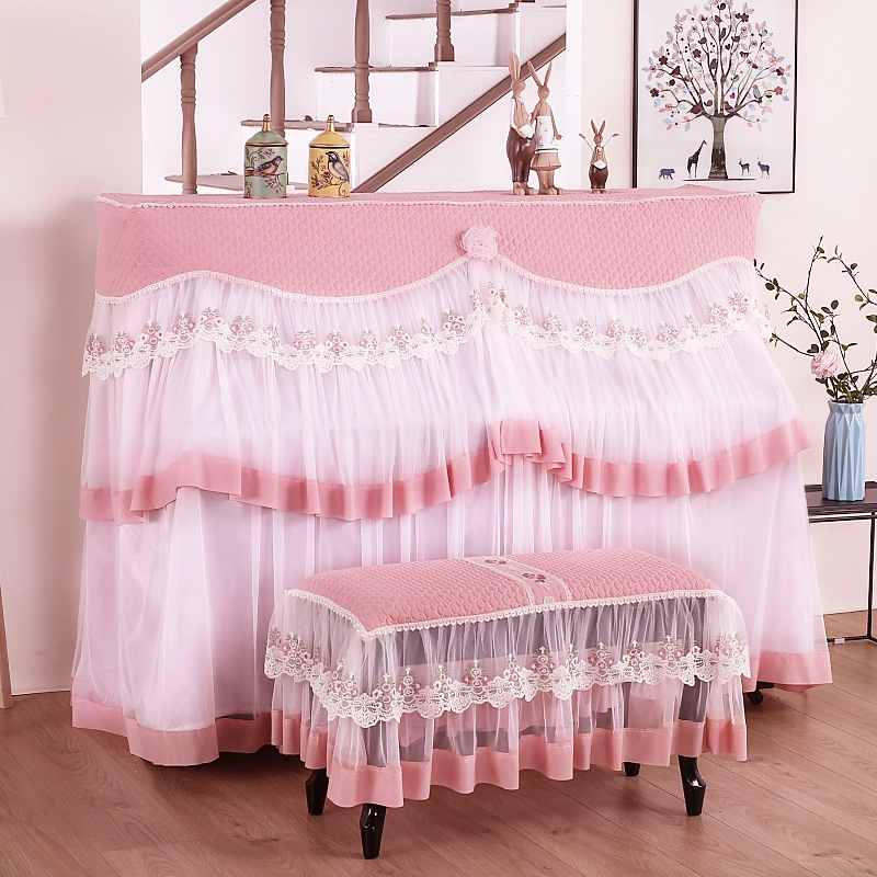 All Inclusive Lace <font><b>Piano</b></font> <font><b>Cover</b></font> single double Stool <font><b>covers</b></font> Korean Style <font><b>Piano</b></font> <font><b>Dust</b></font> proof <font><b>Cover</b></font> Do not take it off to play image