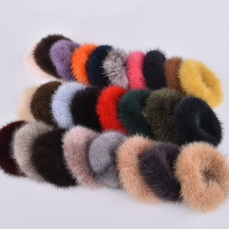 Fashion Women Soft Mink Hair Scrunchie Rope Ponytail Tail Stripe Wrist Band Vintage Elastic Hair Bands Rubber Rope Headdress