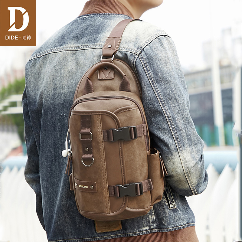 DIDE New Large Capacity Crossbody Men Bags Waterproof USB Charging Chest Pack Messengers Chest Bag iPad Shoulder Bag Male
