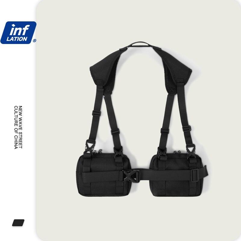 INFLATION Men's Travel Bag Multi Function Shoulder Bags Male Shoulder Crossbody Bag Black Color Street Style Sport Bags295AI2019