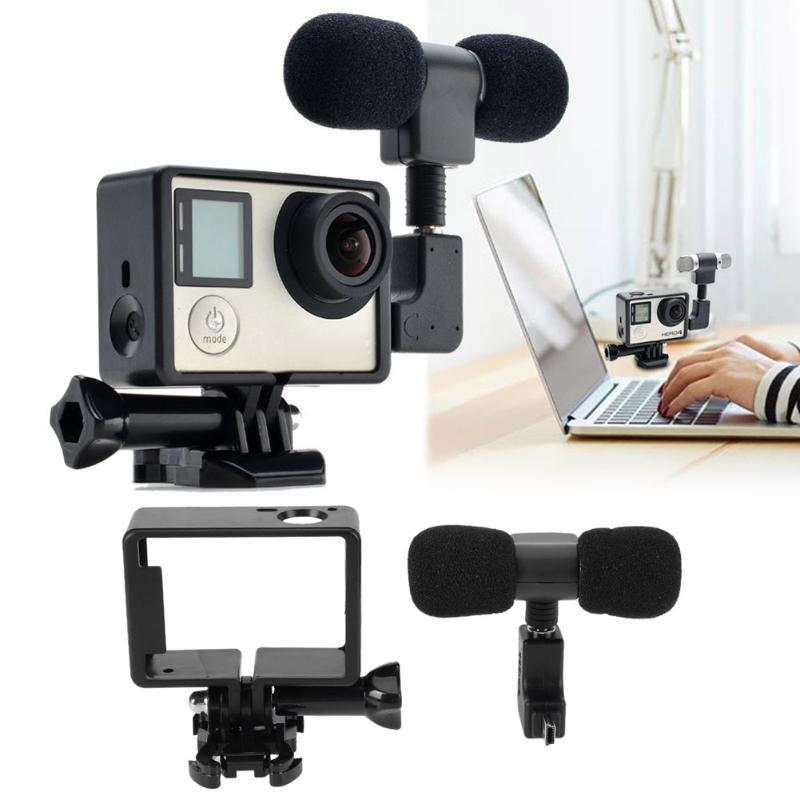 Mini Microphone Stereo Mini USB to 3.5mm with Frame L-shaped Connector Sports Action Camera Accessory Set for GoPro Hero 3/3+/4