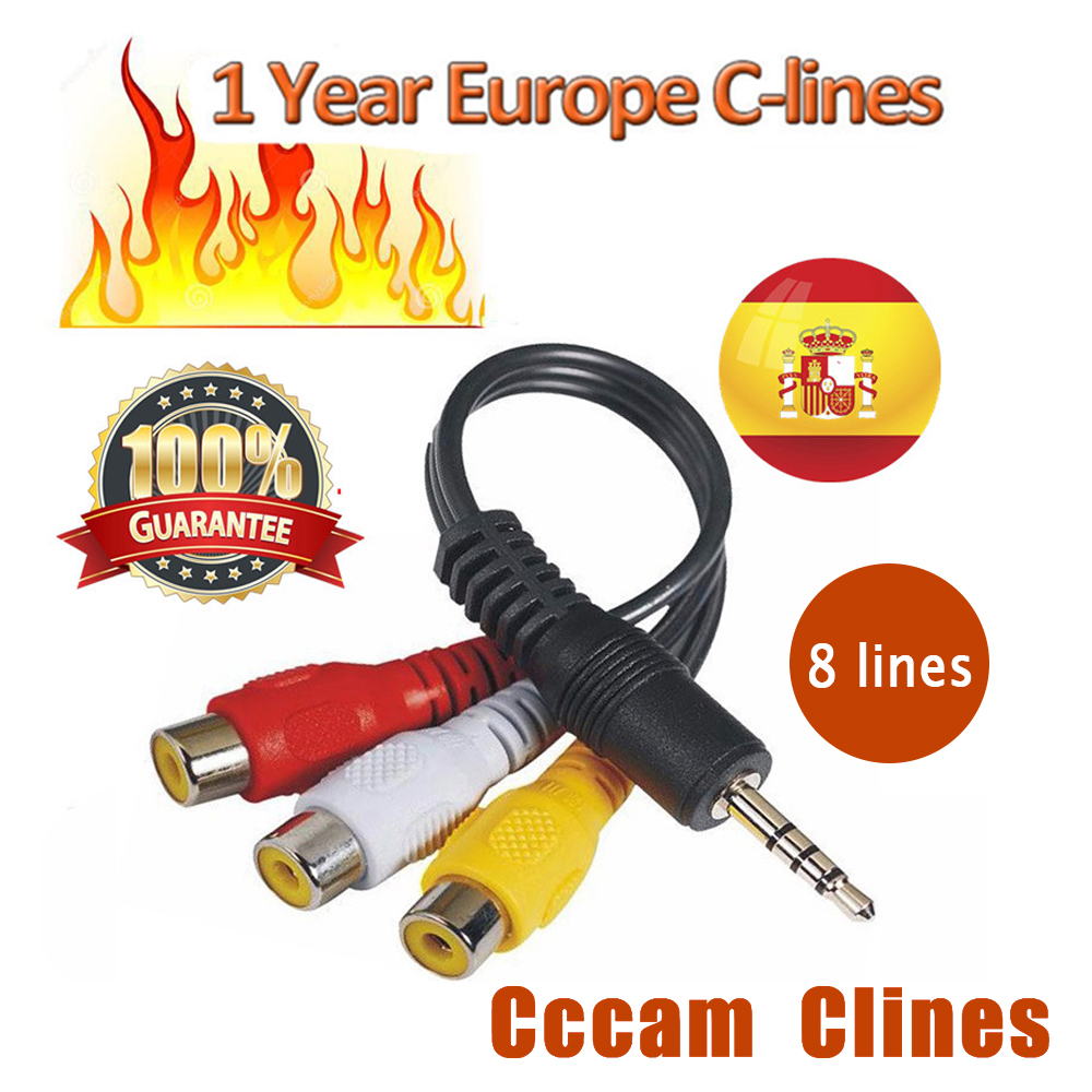 3 Lines 1 Year Europe Cccam Cline 8 Lines 1 Year Oscam Cline HD AV Cable For Satellite Receiver DVB-S2 Spain