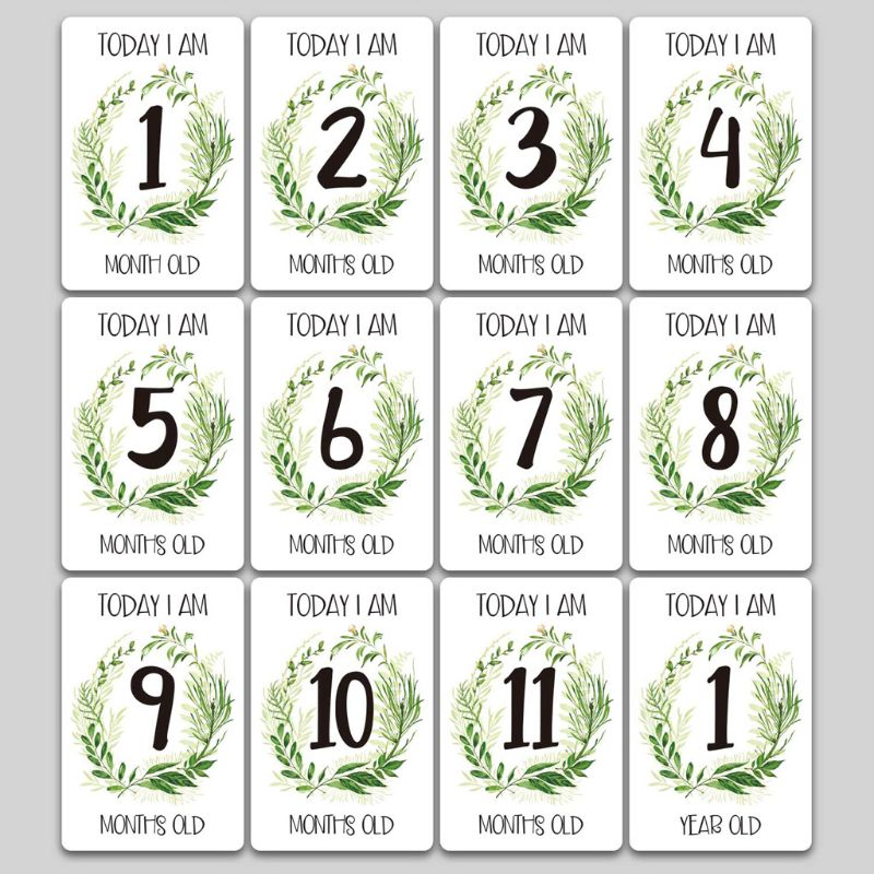 12 Sheet Milestone Photo Sharing Cards Gift Set Baby Age Cards - Baby Milestone Cards, Baby Photo Cards - Newborn Photo