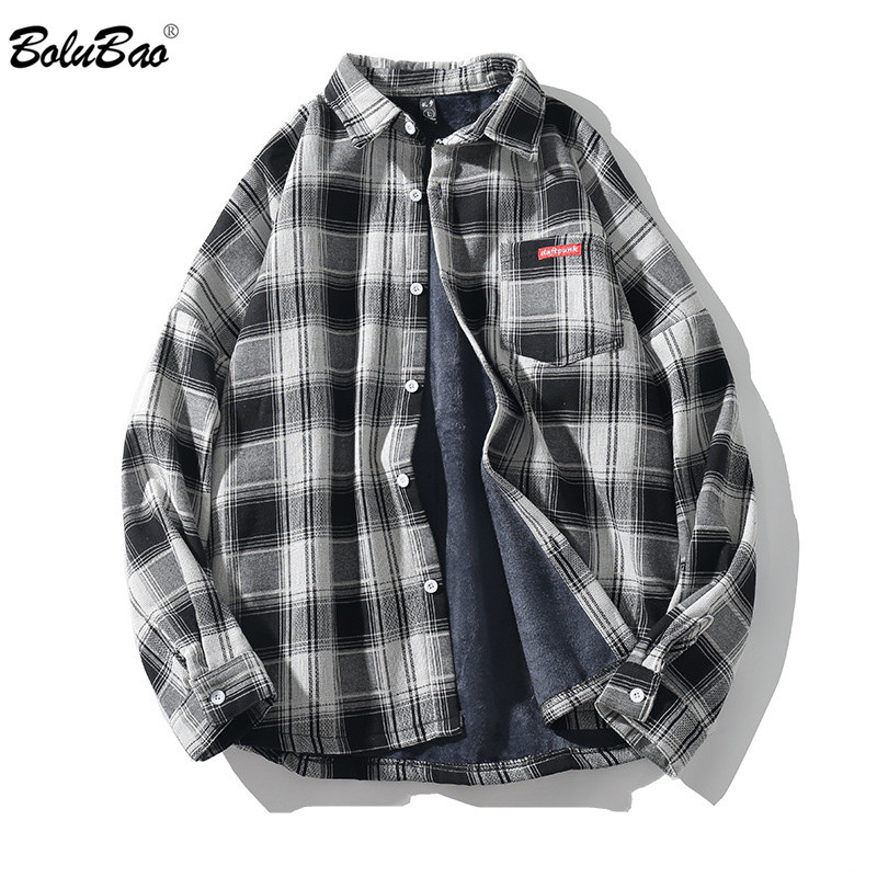 BOLUBAO Casual Brand Men's Plaid Shirts Autumn New Men Plus Velvet Long-Sleeved Warm Shirt Japanese Retro Lapel Shirt Tops