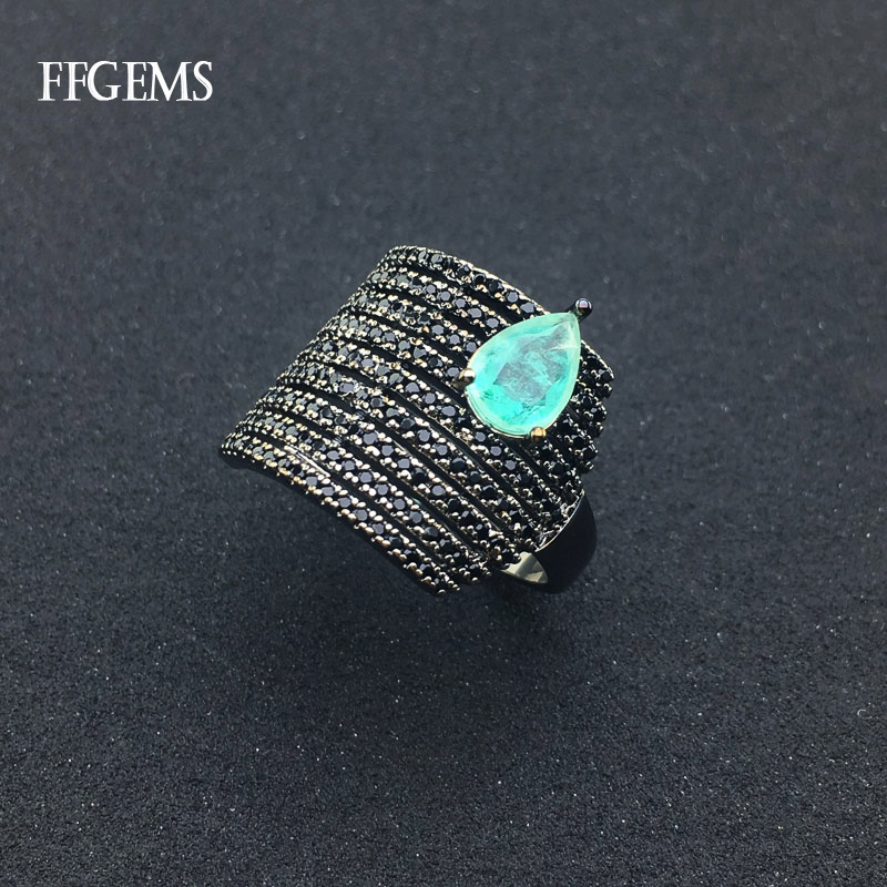 FFGems Created Emerald Ring Created Gemstone Black Spines Fine Jewelry For Women Lady Engagement Wedding Party Gift With Box