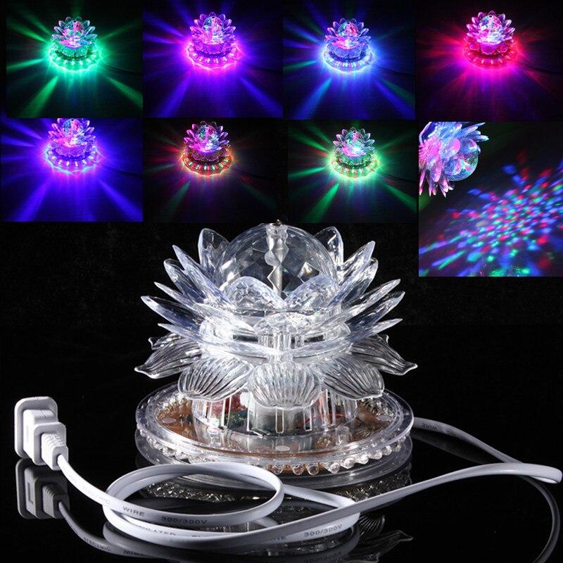 Mini LED  Effect Lamp Auto Rotating 48LED RGB Crystal Projector 90-240V 100cm Music Light For Club Disco Christmas Show