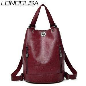 Image 1 - LONOOLISA 3 in 1 Women Backpack Leather Shoulder Bag Female Rucksack High Capacity Women School Bags For Teenage Girls Mochila