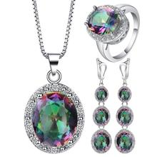 4Pcs/Set Multicolor Crystal Faux Inlaid Ring Earrings Pendant Necklace Jewelry Women Geometric Design Wedding Jewelry Xmas Gift цена 2017