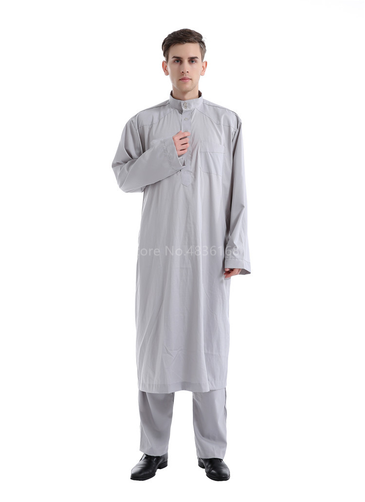 Hb511795530c94ed999307629a0e62e18n - Islamic Clothing Men Muslim Robe Arab Thobe Ramadan Costumes Solid Arabic Pakistan Saudi Arabia Abaya Male Full Sleeve National