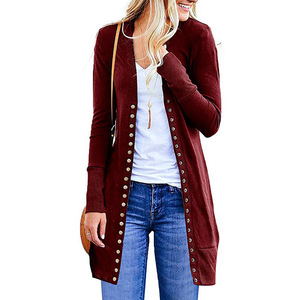 Image 2 - The new 2019 ms autumn render joker cardigan long sleeved jacket unlined upper garment of rivet sexy fashion