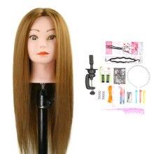 75% настоящие человеческие волосы голова манекена с подставкой