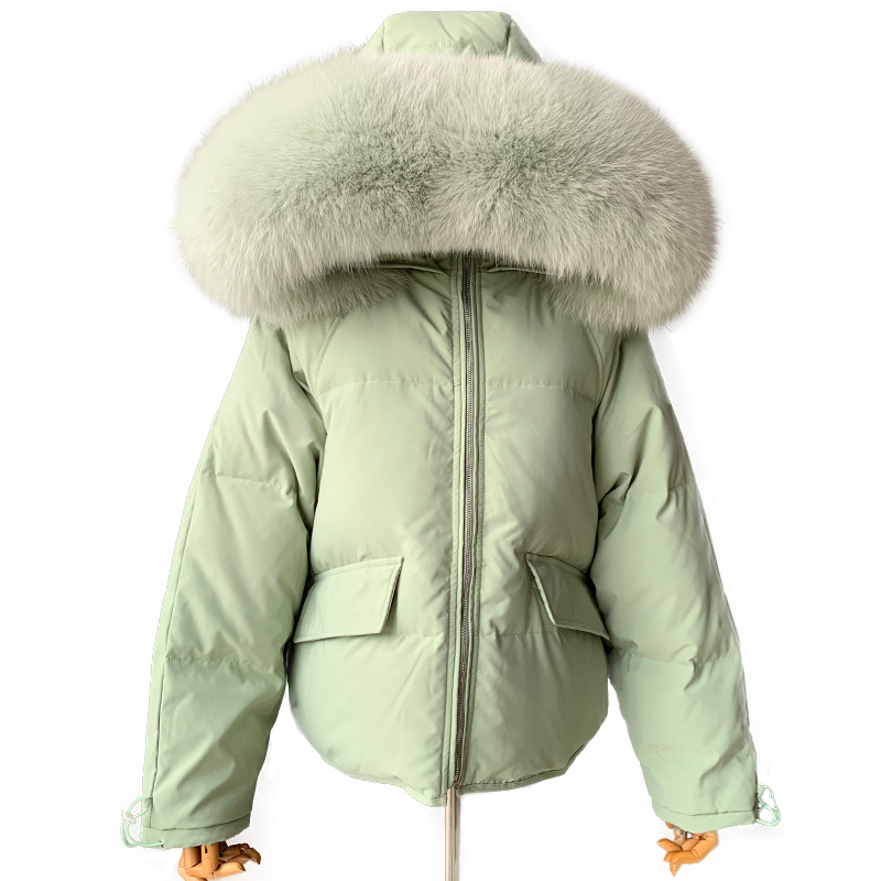 Large Natural Fox Fur Hooded Winter Down Jacket Women 90% White Duck Down Thick Parkas Warm Snow Down Feather Coat