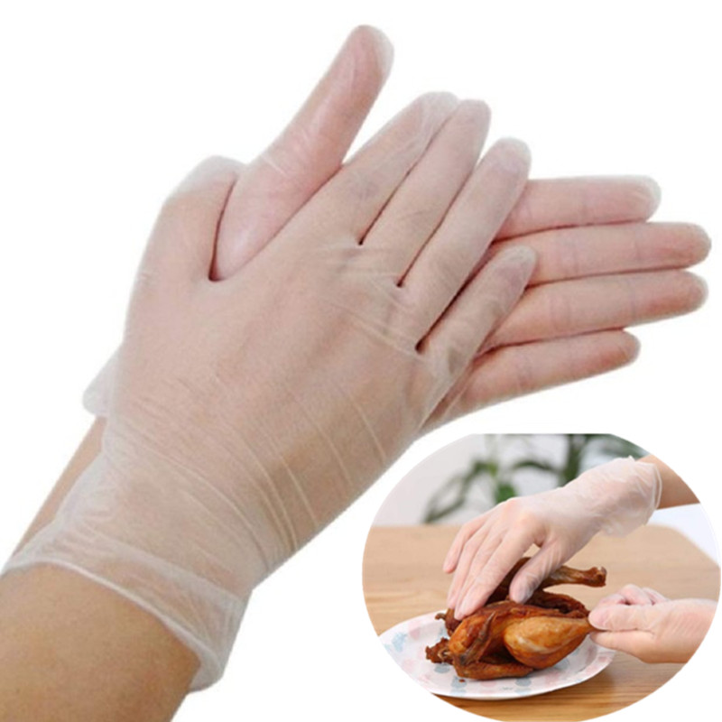 PVC Disposable Gloves Food Processing Protective Gloves Clear Vinyl Gloves For Working Kitchen Cooking Cleaning 9 Inch Length