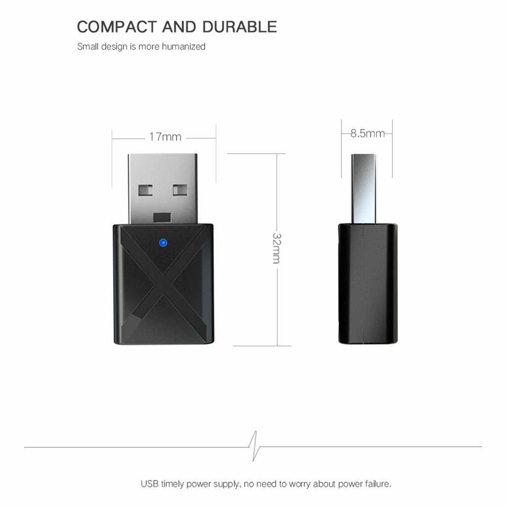 Portable Bluetooth 5.0 Transmitter Receiver 3.5mm AUX USB Mini 2 in 1 Wireless Stereo Audio Adapter for Home TV MP3/4 PC Car