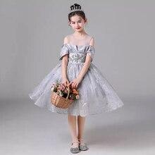 Flower Girl Dresses Vintage Crystal Short O-Neck Off The Shoulder Princess Knee-Length Tulle Luxury Silver Kids Party Gown H536