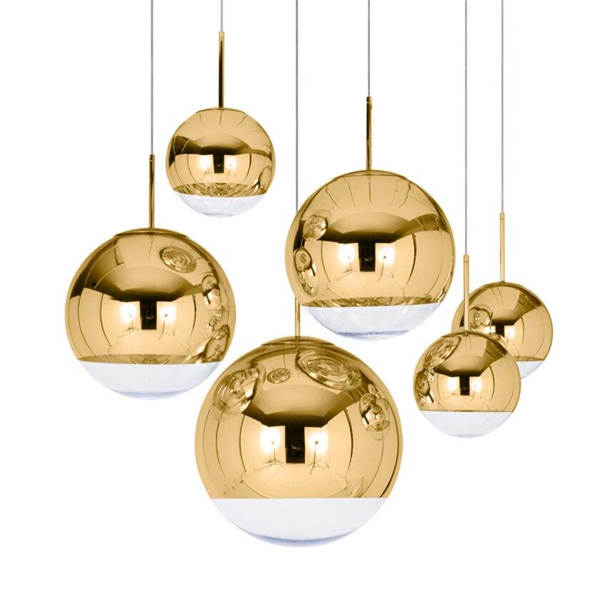 Moderne Einfache Silber Gold Schatten Beleuchtung Glaskugel Ball Anhänger Licht Runde LED Anhänger Lampen Leuchte Küche Leuchten