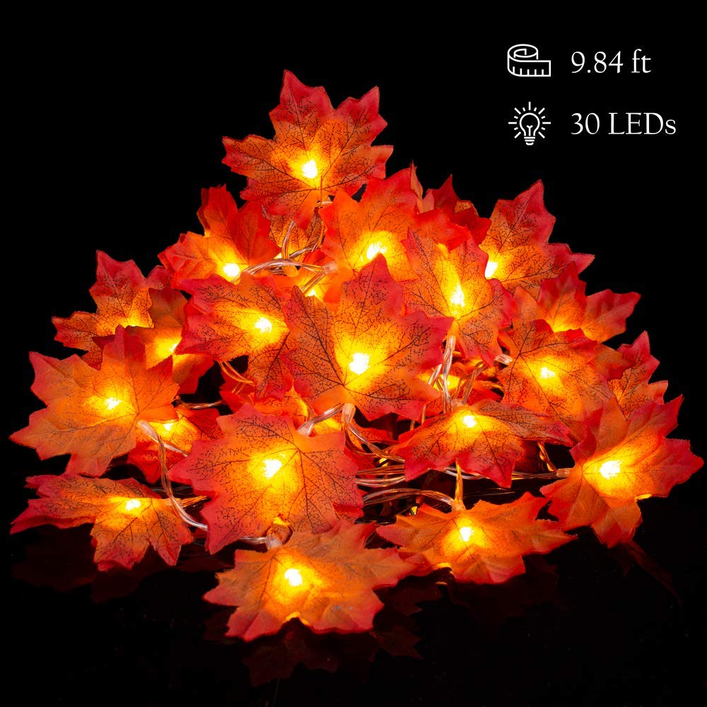 Leaf Garland Battery Operated Fall Leaf Lighted Garland 9.8 Feet 30 LED Autumn Leaf Decorations Outdoor Indoor Maple Leaves