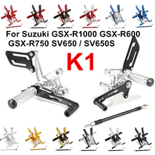 For Suzuki K1 GSX R1000 GSX R600 GSX R750 SV650 S Adjustment Rider Motorcycle Footrests Rearset Rear Footpeg Foot Rests D20