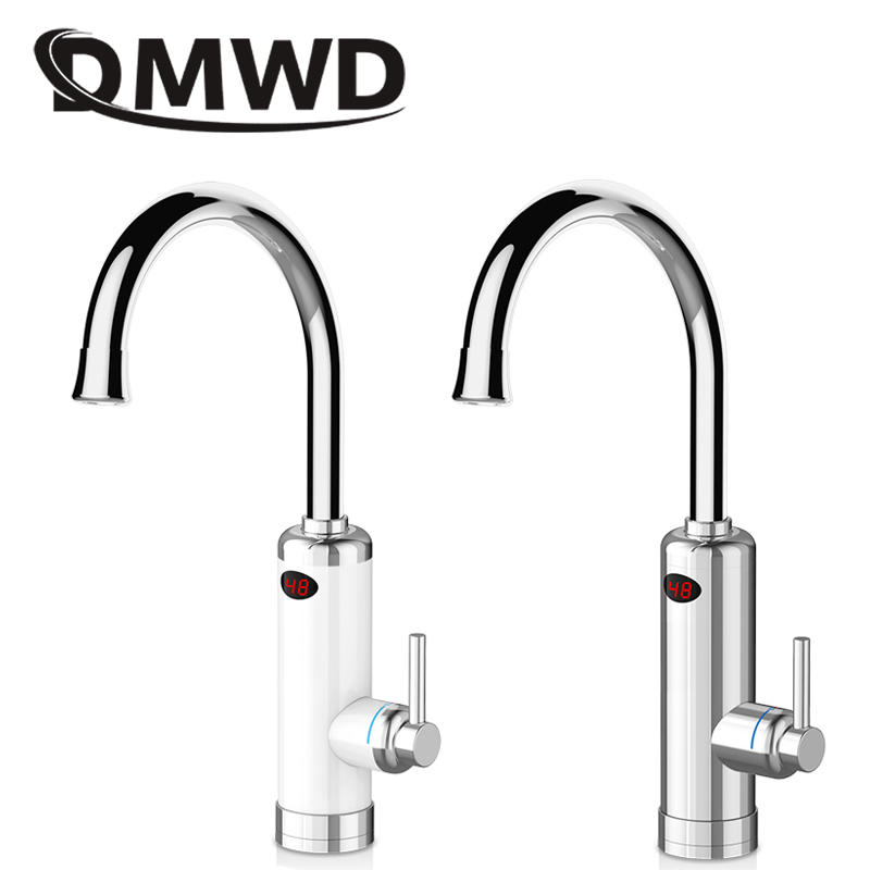 DMWD Hot LED Display Water Rapid Heating Faucet Electric Instant Kitchen Tankless Water Heater Tap Temperature Display 3000W EU