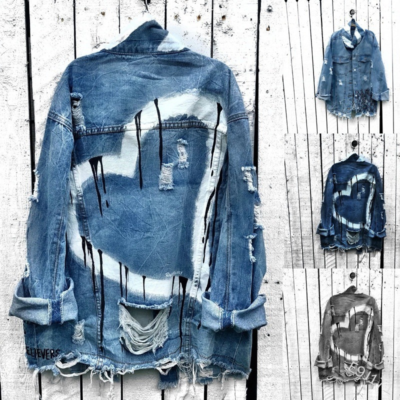 WEPBEL Women's Denim Jacket Full Sleeve Fashion Holes Heart Print Coat Button Loose New Summer Autumn