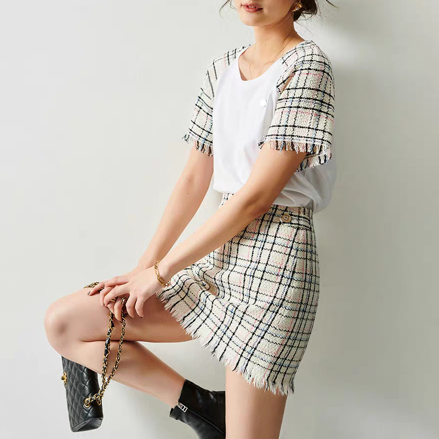Small Fragrance Plaid Wrap Women Skirt Stitching Fringed High Waist Skirt