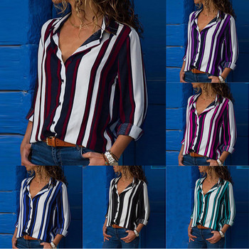 Fashion Striped Print Women Blouse Shirt Button Long Sleeve Top Spring Summer Ladies Casual Blouse Shirts Tops Plus Size S-5XL 1