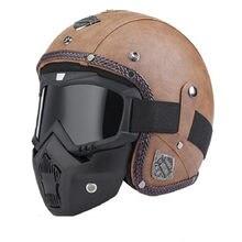 Retro vintage capacete da motocicleta 3/4 rosto aberto dot aprovado viseira couro do plutônio casco moto capacete capacetes de motocross com óculos máscara