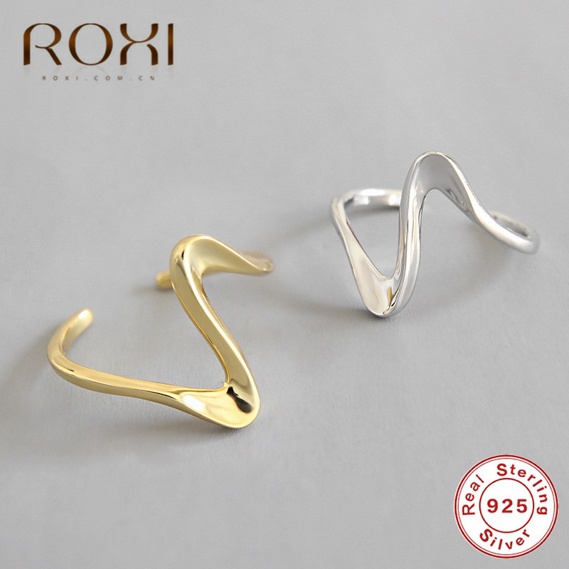 ROXI Genuine 925 Sterling Silver Ring Minimalist Wave Shape Opening Rings For Women Cute Party Jewelry Korean Love Couple Ring