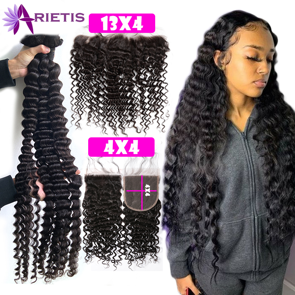 36-38-40inch Deep-Wave-Bundles Closure Frontal Curly Remy Water Brazilian with 32-34